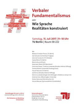 Plakat zum Workshop 'Verbaler Fundamentalismus' am 15. Juli 2017